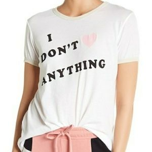 NWT WILDFOX GRAPHIC TEE SIZE L I DON'T ❤ ANYTHING